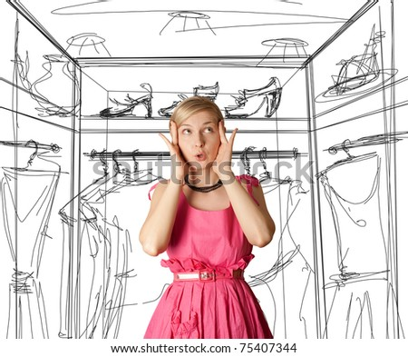 surprised girl in pink, looking up, with open hand - stock photo