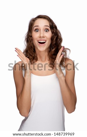 Surprised girl isolated - stock photo