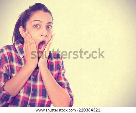 Surprised girl shouting - stock photo