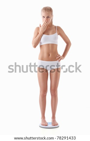 Surprised girl standing on the scales on a white background - stock photo