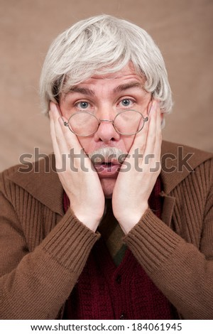 Surprised Grey Haired Old Man