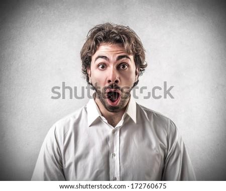 surprised guy - stock photo