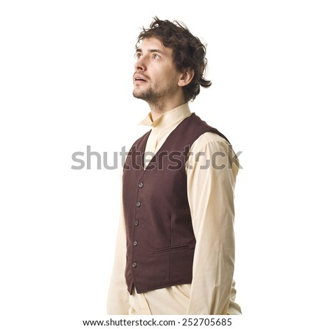 Surprised Handsome Retro Man. - stock photo