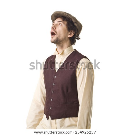Surprised Handsome Retro Man With Hat. - stock photo