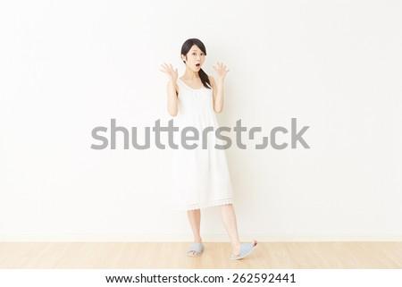 surprised Japanese woman - stock photo