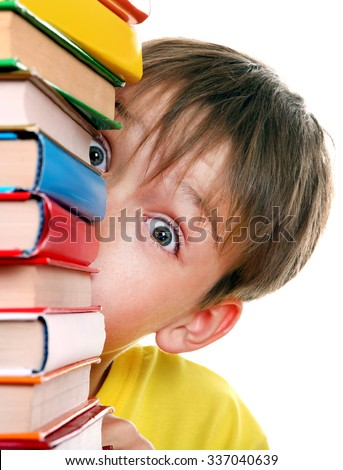 Surprised Kid behind the Books Isolated on the White Background