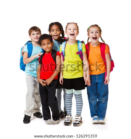 Surprised kids crowd in colorful t-shirts - stock photo