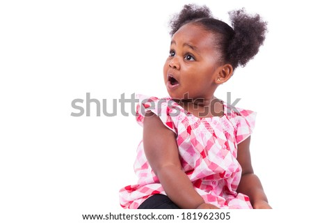 Surprised little african american girl, isolated on white background - stock photo