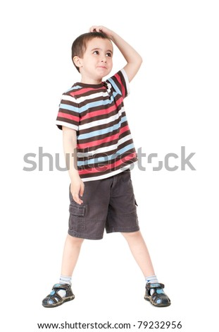 Surprised little boy isolated on white - stock photo