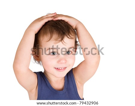 Surprised little boy with hands on head isolated on white - stock photo