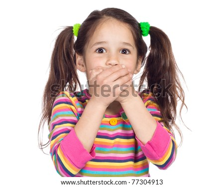 surprised little girl covered his mouth with his hands - stock photo