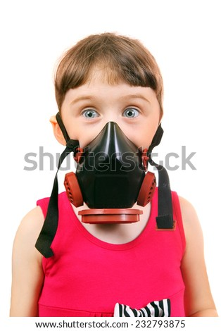Surprised Little Girl in in Gas Mask Isolated on the White Background - stock photo