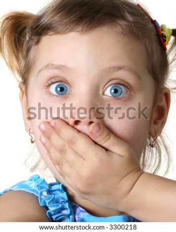 Surprised little girl  isolate on white - stock photo