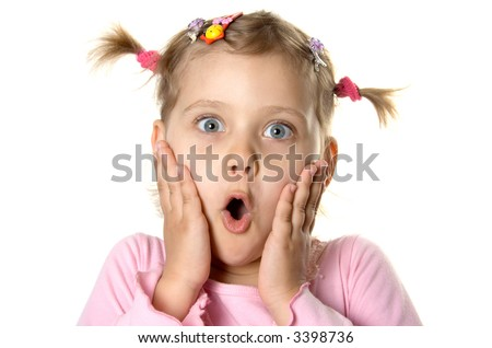 Surprised little girl. Isolate on white - stock photo