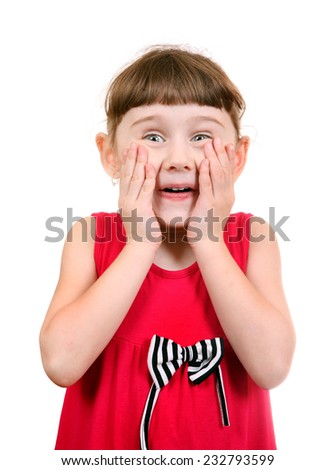 Surprised Little Girl Isolated on the White Background - stock photo