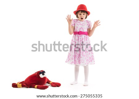 Surprised little girl on a white background