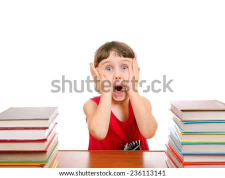 Surprised Little Girl with the Books on the White Background - stock photo