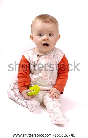 Surprised little toddler - stock photo