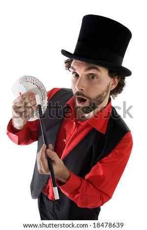 surprised magician doing a trick of letters - stock photo