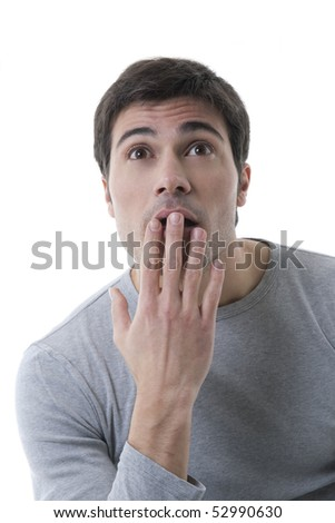 Surprised man, covering his mouth - stock photo