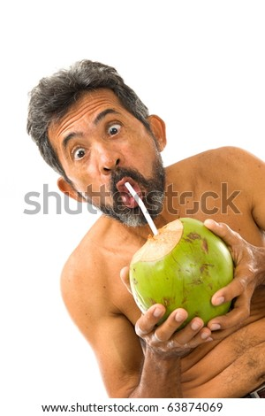 Surprised Man Drinking Coconut Water on white background .