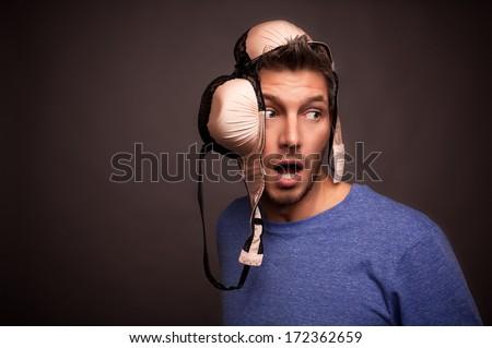 surprised man morning face mimic - stock photo