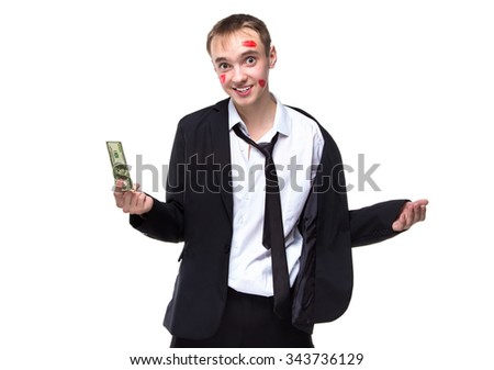 Surprised man with dollars in kisses. Isolated photo of people with white background. - stock photo