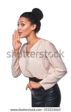 Surprised mixed race caucasian - african american business woman whispering gossip, over white background - stock photo
