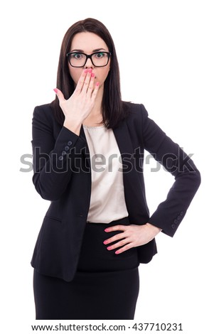 surprised or frightened business woman isolated on white background - stock photo