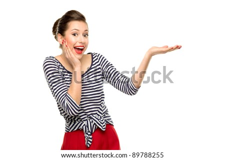 Surprised pin-up girl - stock photo