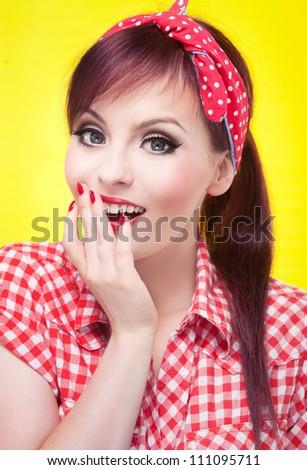 Surprised pin up girl - retro style portrait - stock photo
