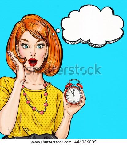 Surprised Pop Art girl with clock  with thought bubble. Party invitation. Birthday card. Hollywood, movie star. Comic woman. Sexy girl. Housewife, shopping, new year, deadline, sale, wow, too late, no - stock photo