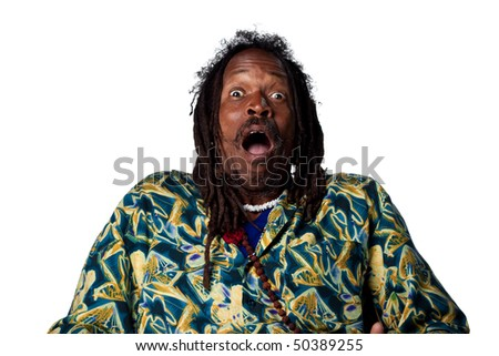 Surprised reaction from Rastafarian man, isolated images - stock photo