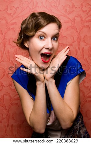 surprised 1920's woman - stock photo