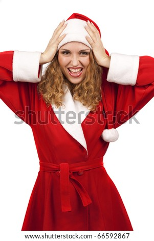 Surprised Santa Claus smiling over white background - stock photo