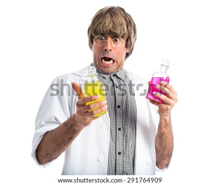 Surprised scientist holding test-tubes - stock photo