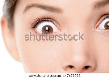 Surprised / shocked face expression of woman. Surprise and shock close up of female eyes looking at camera. Mixed race Asian Caucasian female model with brown eyes. - stock photo