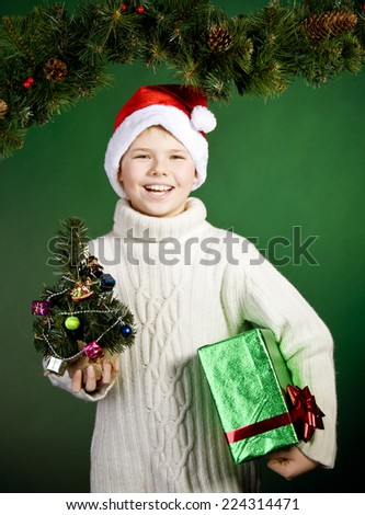 Surprised smiling boy in Santa hat with present. New Year. Christmas. - stock photo