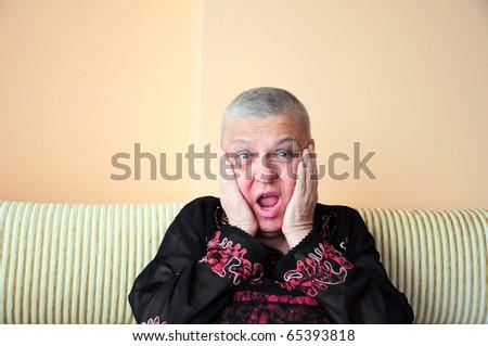 surprised woman - stock photo