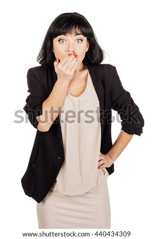 Surprised woman covering with hands her mouth,Closeup portrait beautiful woman,Positive human emotion facial expression,isolated on white background - stock photo