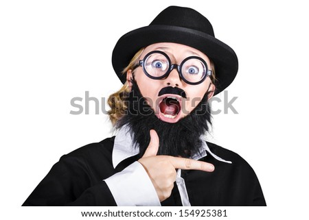 Surprised Woman Dressed As Man Gesturing With Finger On White Background