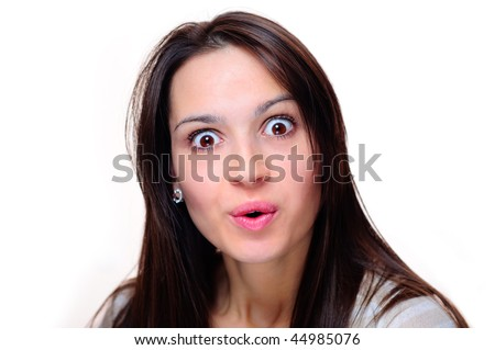 Surprised woman - Expression - stock photo