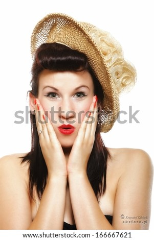 surprised woman face, beautiful girl in hat retro style holding her head in amazement isolated on white background - stock photo