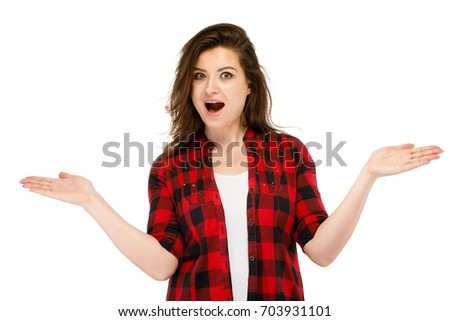 Surprised woman isolated on white background