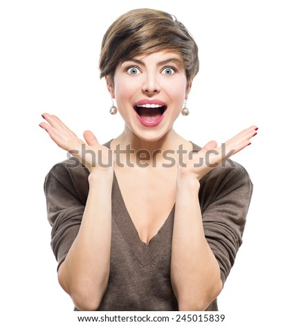 Surprised Woman. Young emotional beauty with short hairstyle looking excited, throwing up hands isolated on white background. Girl with shot brown hair expressing positive emotions, smile with teeth. - stock photo