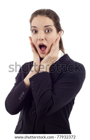 Surprised young business woman isolated over white background - stock photo