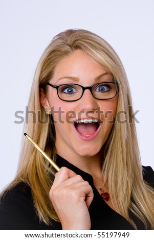 Surprised young businesswoman holds pan and looks at camera - stock photo
