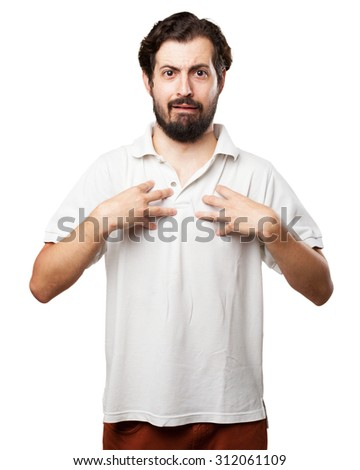 surprised young man confused pose - stock photo