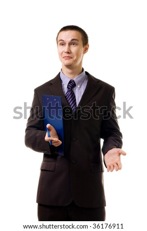 surprised young man stand in formal suit isolated on white - stock photo