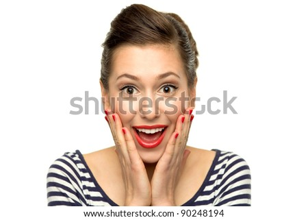 Surprised young woman - stock photo